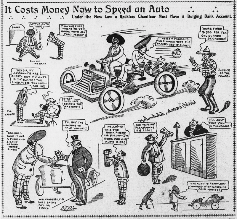 """Under the new law a reckless chauffeur must have a bulging bank account,"" from <em>The Evening World</em>, June 6, 1904."