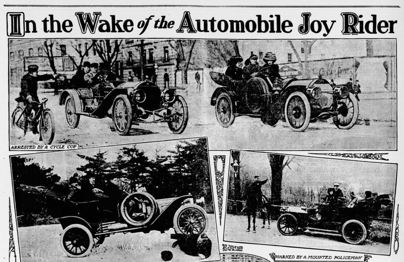 "An article from <em>The Evening Times</em>, May 9, 1909, calling for regulation of joyriders, ""usually a chauffeur."""