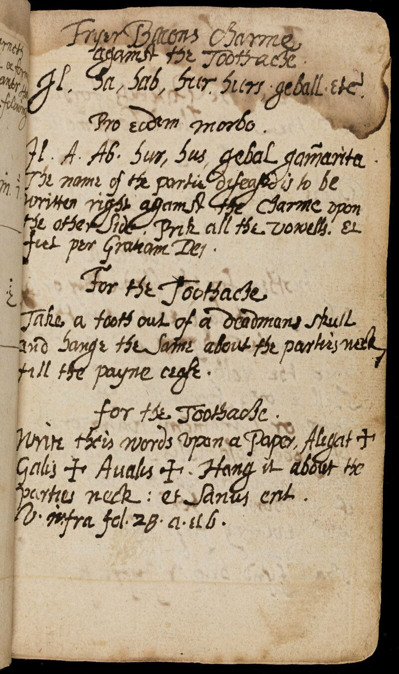 A page from <em>The Book of Magical Charms</em>, detailing how to treat a toothache.