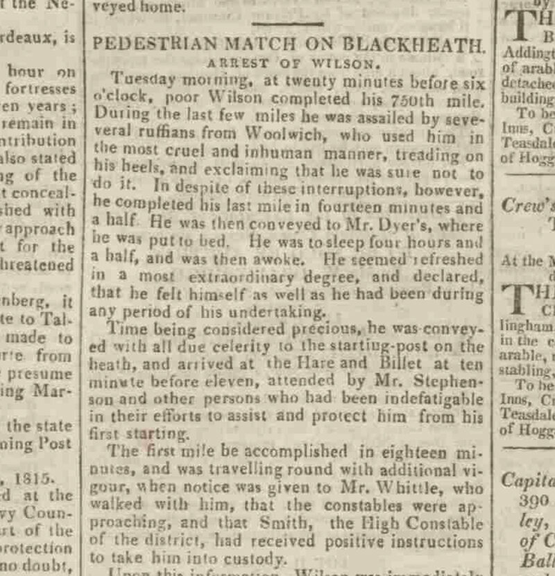 "<em>Sussex Advertiser</em>, reporting on the ""Pedestrian Match on Blackheath"" and the arrest of ""Poor Wilson"", Monday 2 October, 1815."
