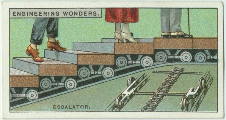 "An early 20th century cigarette card, showing the ""engineering wonder"" of the elevator."