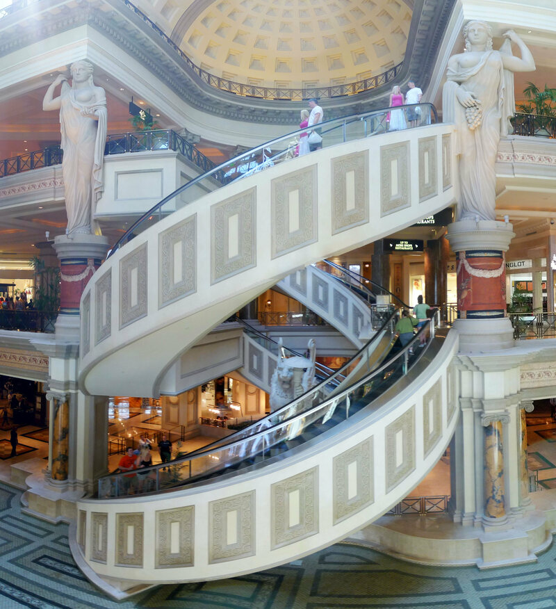 Spiral escalators at Caesars Palace Forum, Las Vegas.