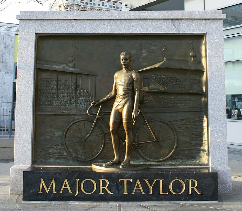 The Major Taylor statue and memorial in Worcester, Massachusetts.