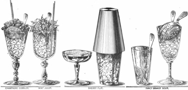 A variety of cocktails as featured in <em>The New and Improved Illustrated Bartenders' Manual; Or: How to Mix Drinks of the Present Style</em>, Harry Johnson, 1888.
