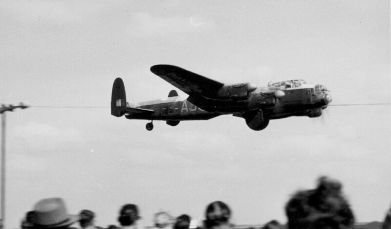 "A plane from the movie ""The Dambusters,"" based on the true story of Operation Chastise, flies over Coventry Airport."