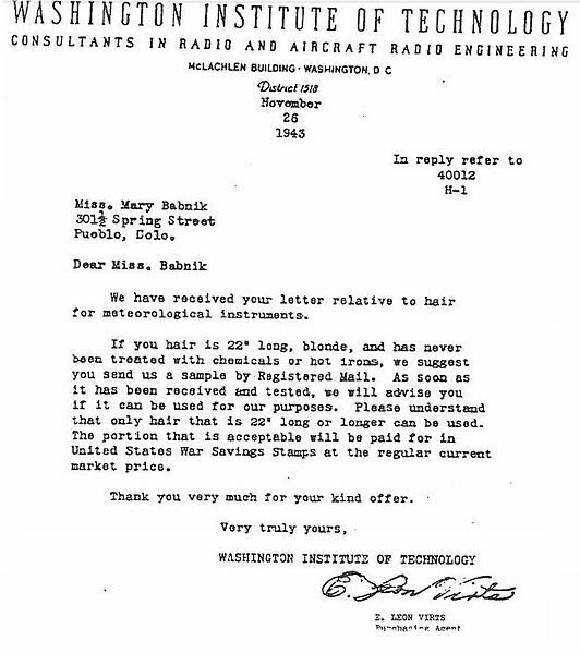 A copy of the response Babnik Brown received after responding to the initial ad requesting hair for the war effort.
