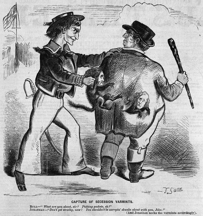 Brother Jonathan pulling skunks (caricatures of southern secessionists) out of the back pockets of John Bull.