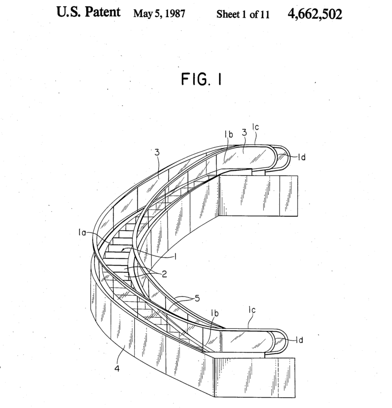An image from a 1987 Mitsubishi patent for a curved escalator.