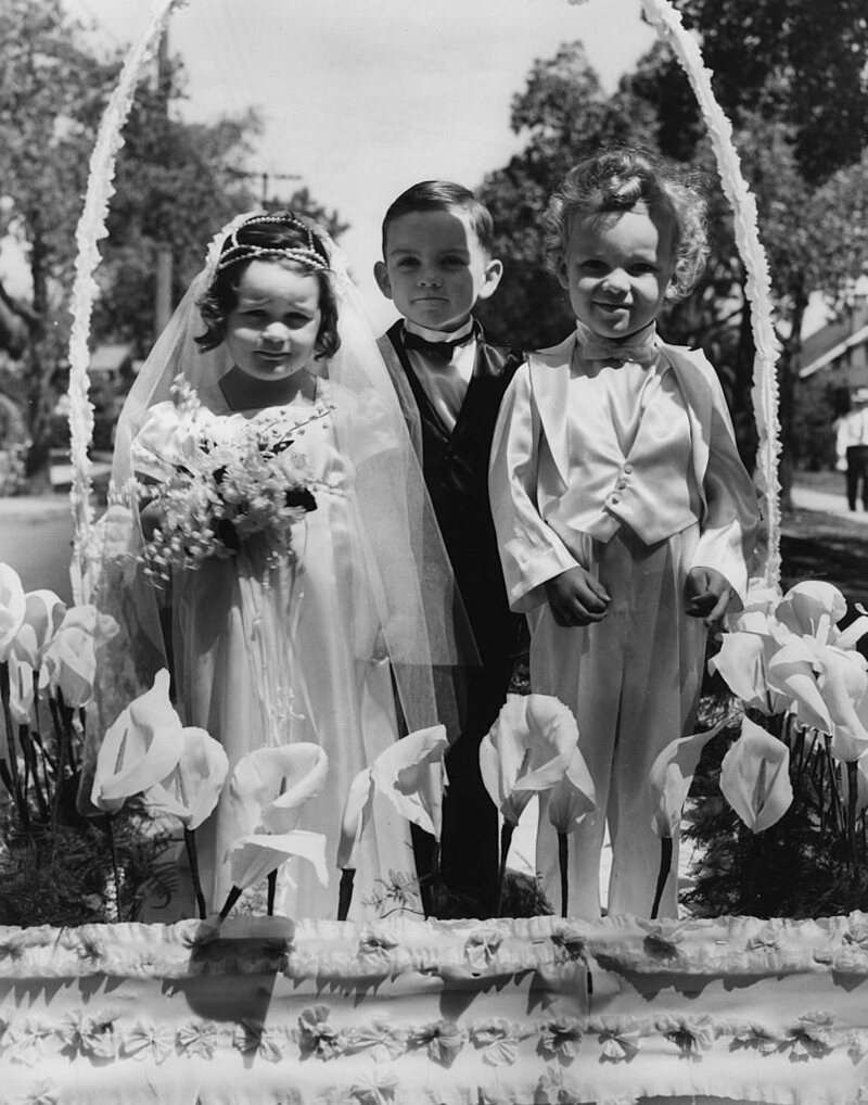 A Tom Thumb wedding from the 1930s at the Annual Story Book Parade in Alhambra, California.