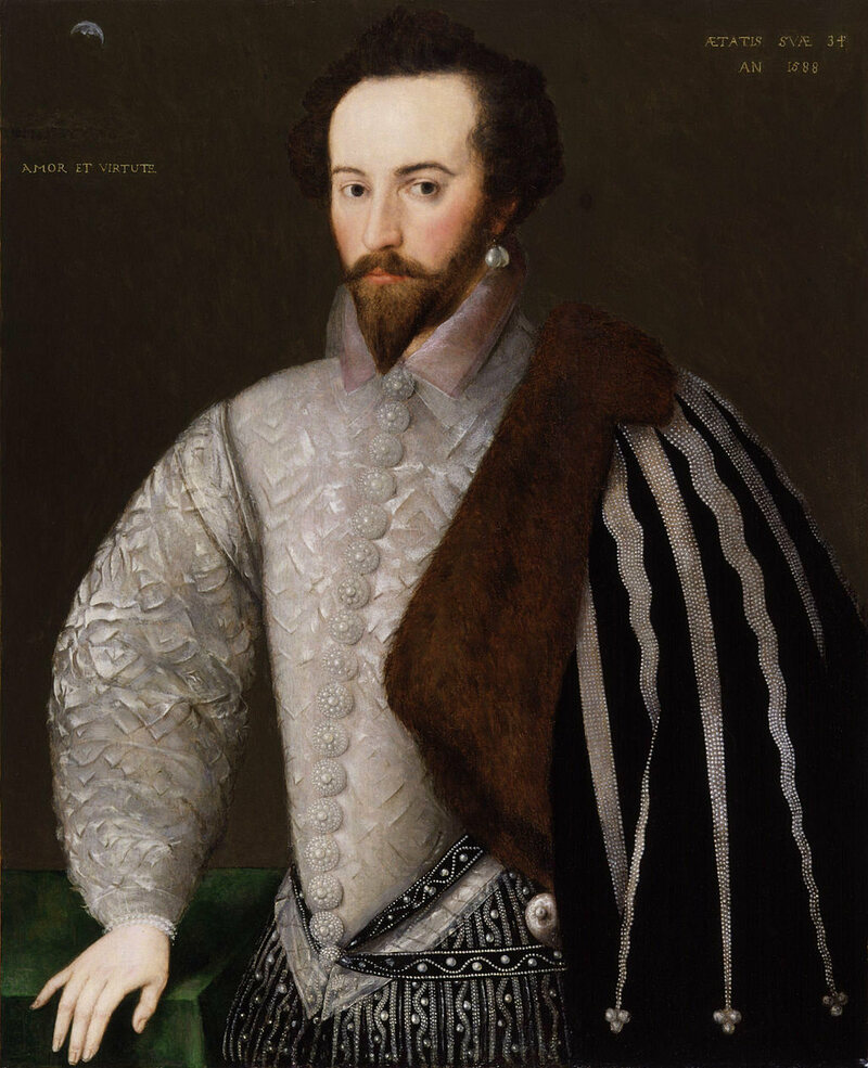 Sir Walter Raleigh with earring