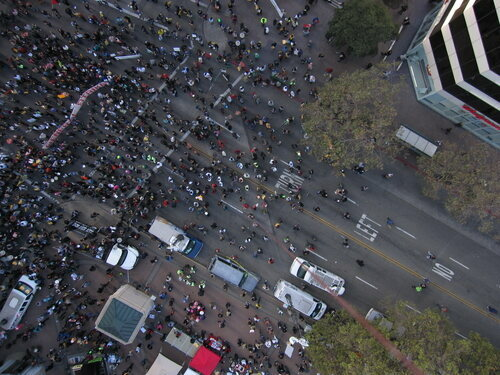 A balloon view of Occupy Oakland in 2011.