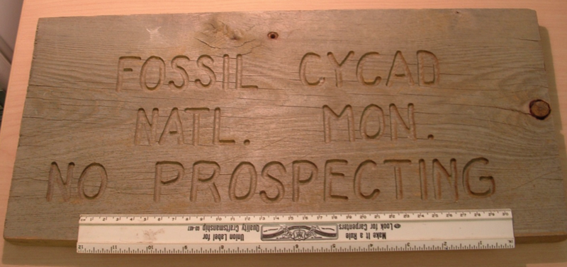 One of two signs made for Fossil Cycad—essentially the monument's only infrastructure.
