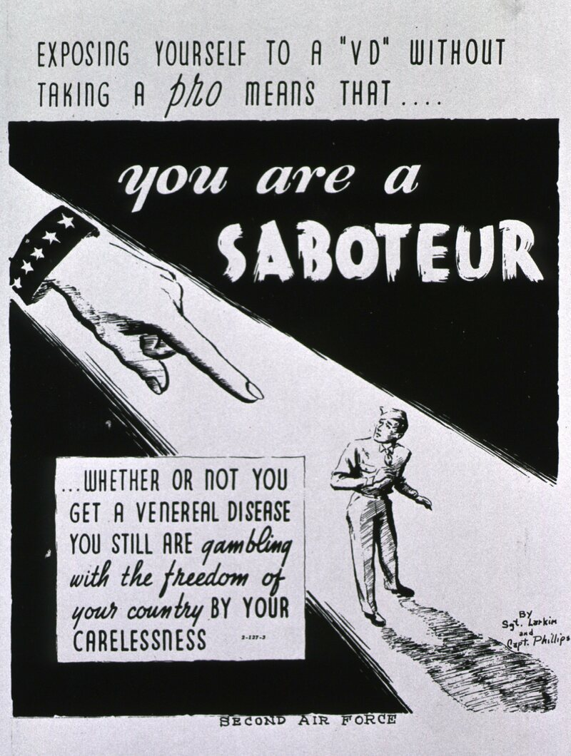 A World War II–era poster from the Second Air Force labels careless soldiers as saboteurs.