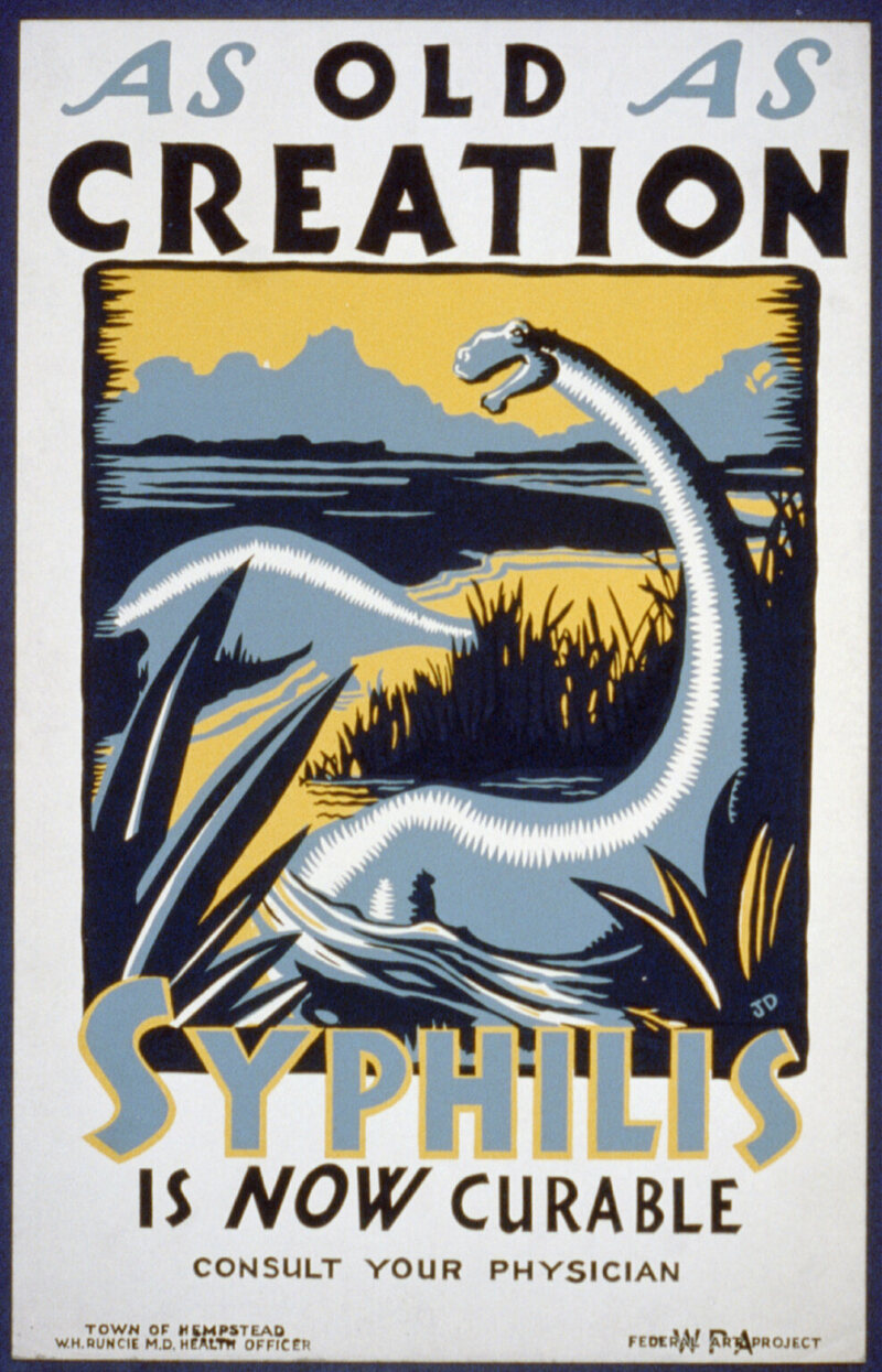 This WPA poster was produced sometime in 1936 or 1937. Arsenic, bismuth, and mercury were used as treatments until penicillin became widely available in the 1940s.