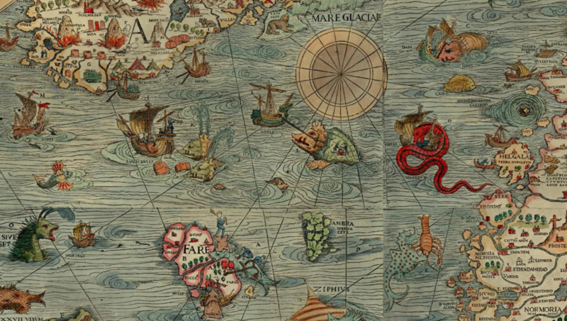 Marine map of Scandinavia, drawn up at Venice in 1539.
