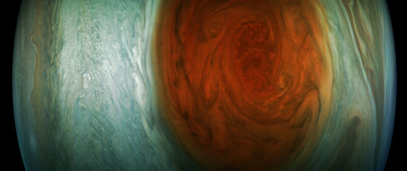 An enhanced-color image of the Great Red Spot created by citizen scientist Gerald Eichstädt.