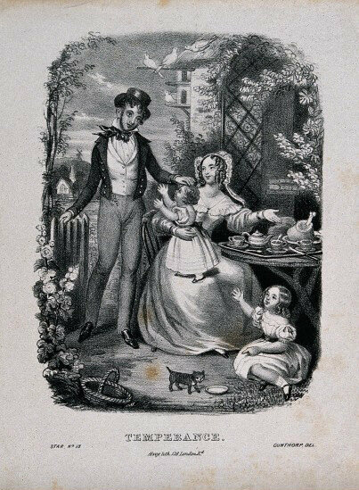 A lithograph showing the beneficial effects of temperance on family life, c. 1840.