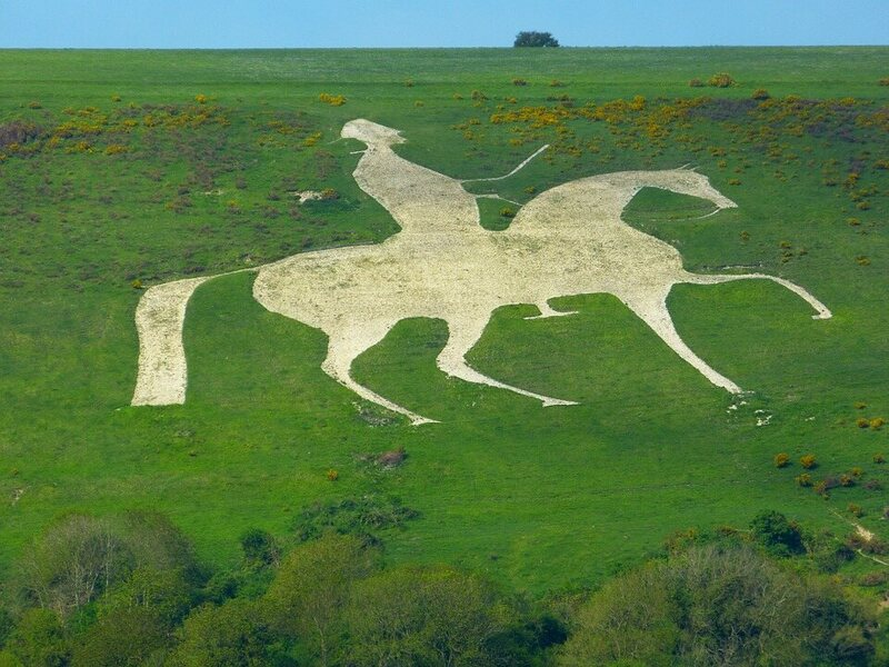 The Osmington White Horse, which depicts King George III, is the only carving to feature both horse and human.
