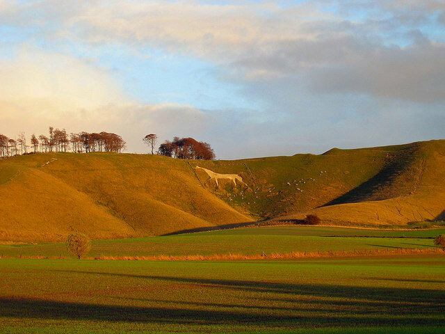 The Cherhill White Horse, England's third-oldest chalk horse, once sported an eye made from upside down glass bottles.