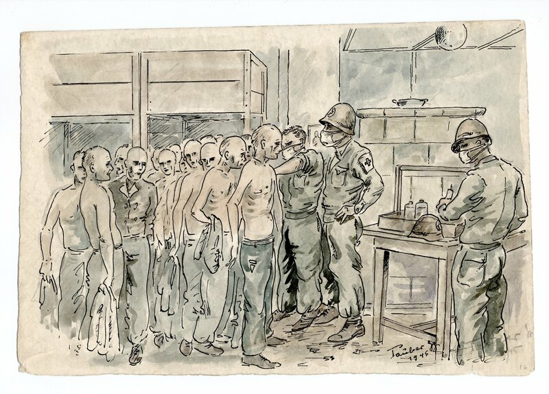 After the prisoners are liberated, American soldiers vaccinate them in a barrack.