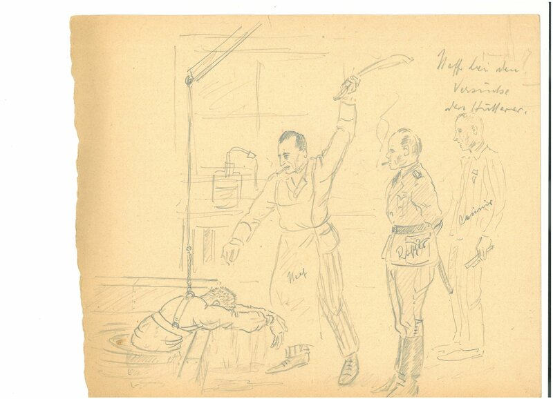 Walter Neff beats the experimental subject Arthur Hutterer, who later died, in the water tank.