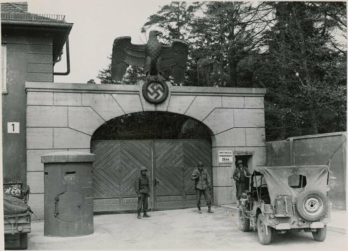 Gates at the main entrance to Dachau concentration camp, 1945.