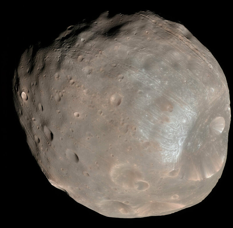 The surface of the Martian moon Phobos.