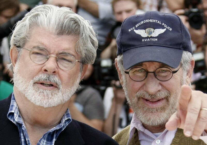 George Lucas with Steven Spielberg, who did uncredited work on <i>Star Wars: Episode III — Revenge of the Sith</i>.