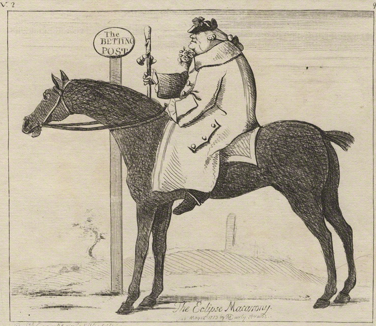 A print from <em>The Betting Post</em> depicting Dennis O'Kelly—sometimes known as Count O'Kelly, despite being neither a count nor an O'Kelly, 1773.