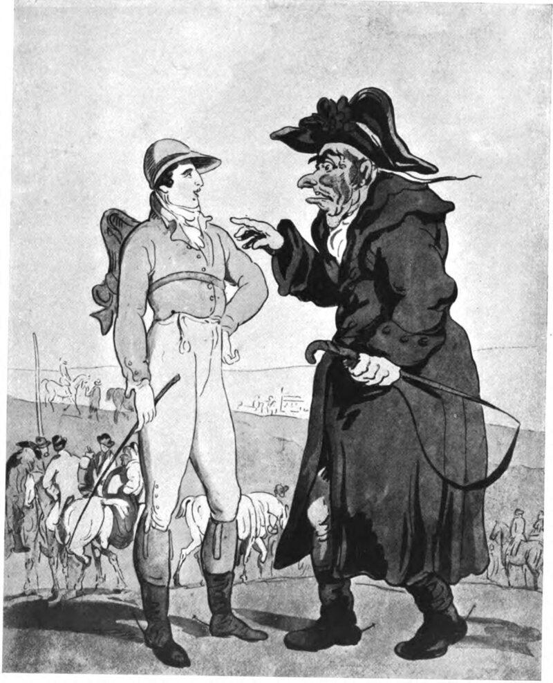 <em>Tricks of the Turf</em>, an 18th-century caricature by Thomas Rowlandson, shows a gambler posing as a jockey.