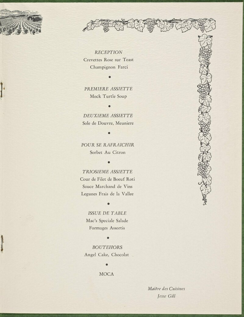 Menu from Fort Worth's Carriage House, featuring mock turtle soup as an appetizer, 1965.