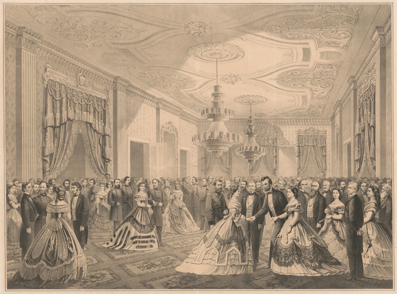 Lincoln's second inauguration, in a lithograph by engravers Major & Knapp, 1865.
