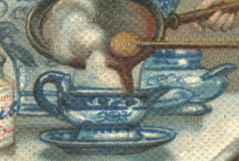 People ate mock turtle soup at home, in boarding houses, on trains, and at parties, detail from 1890 chromolithograph.