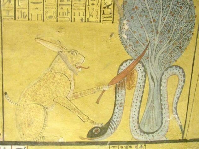 Apep displayed in a tomb in Deir el-Medina, Luxor, Egypt.
