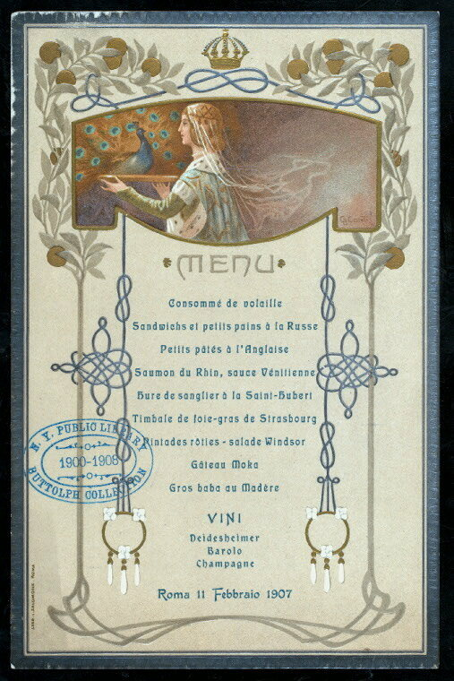 Menu for a ball hosted by Italian King Victor Emmanuel III, 1907.