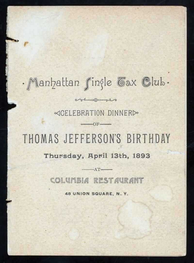 Menu from a dinner in honor of Thomas Jefferson's birthday, 1893.