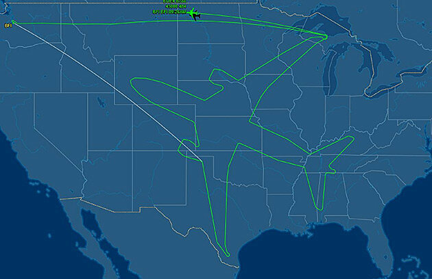 Boeing draws an airplane in the sky