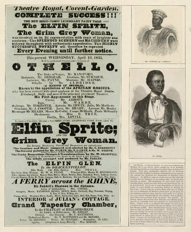Playbill from Ira Aldridge's first appearance at Covent Gardens in the role of Othello, in 1833.