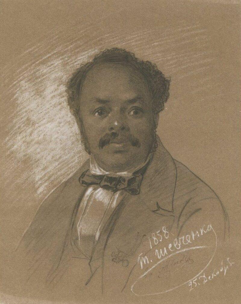 An 1858 pencil portrait of Ira Aldridge, by Ukrainian artist Taras Shevchenko.