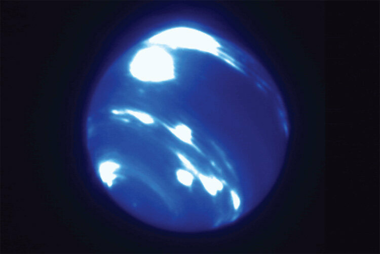 The bright storm at the planet's equator took scientists by surprise.