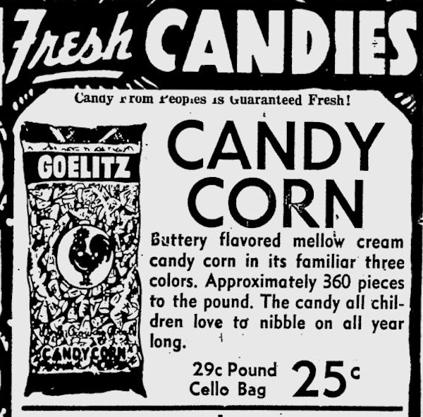 A candy corn ad from 1951.