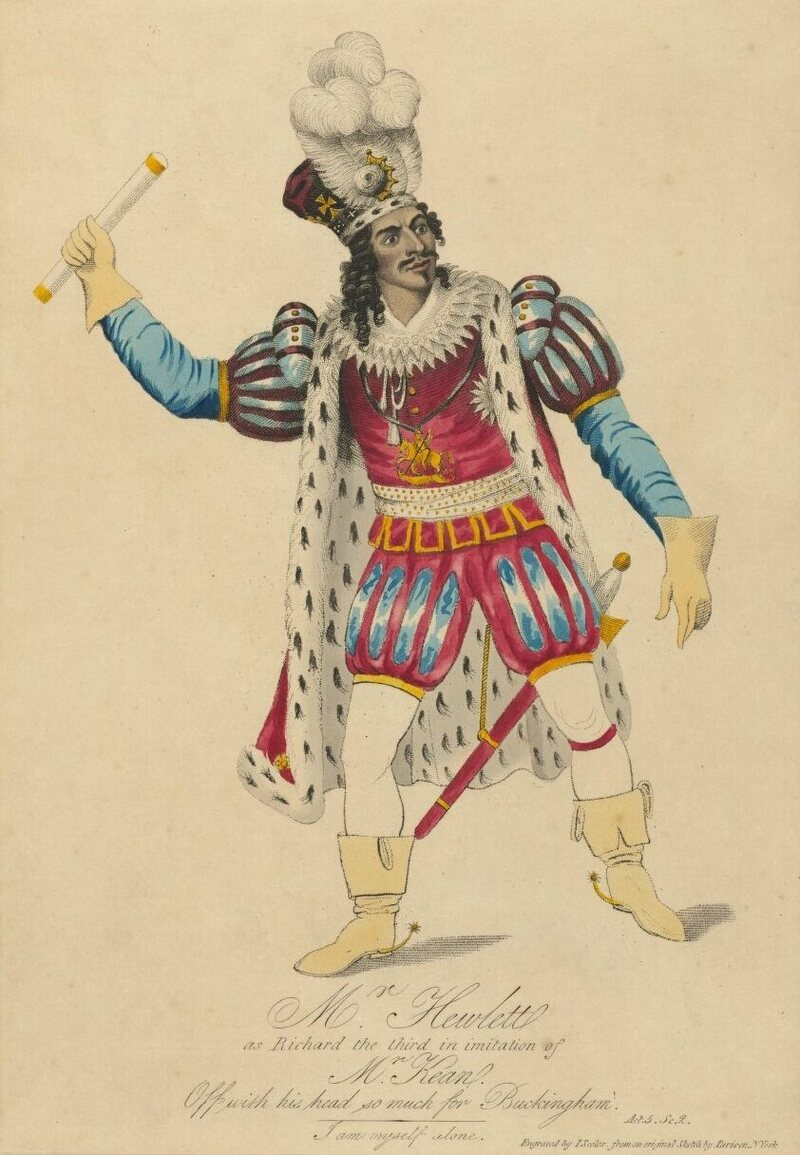 Actor James Hewlett as Richard III in a 1921 African Grove Theatre production.