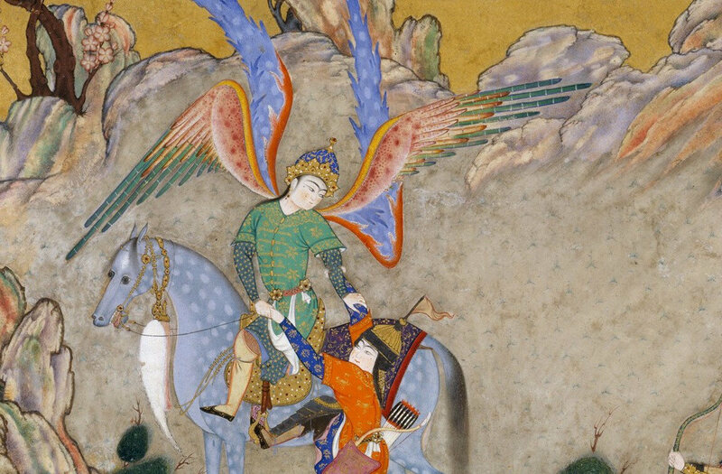A detail from <em>Shahnama of Shah Tahmasp</em>, showing the Angel Surush.