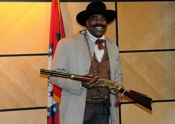 A reenactor dressed up like Bass Reeves.