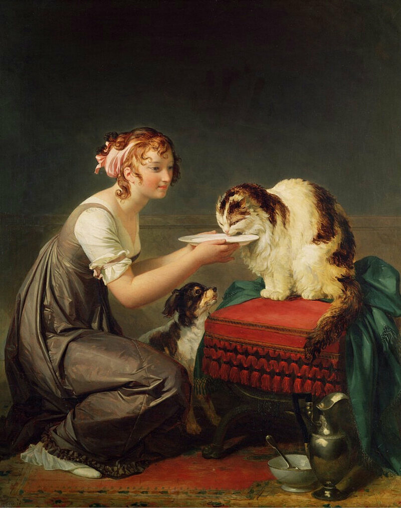 <em>The Cat's Lunch</em> by Marguerite Gérard.