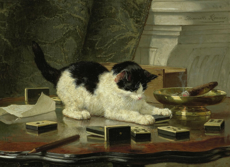 <em>Kitten's Game</em> by Henriette Ronner-Knip.