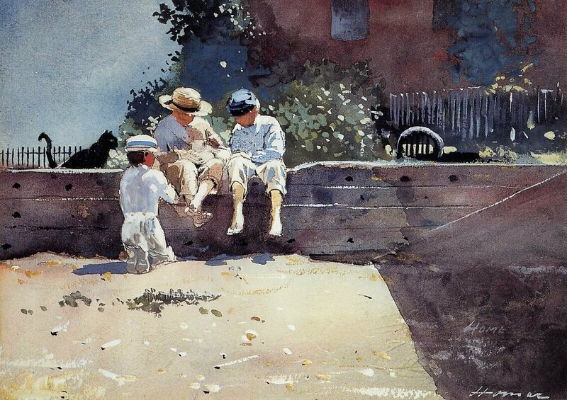 <em>Boys and Kitten</em> by Winslow Homer.
