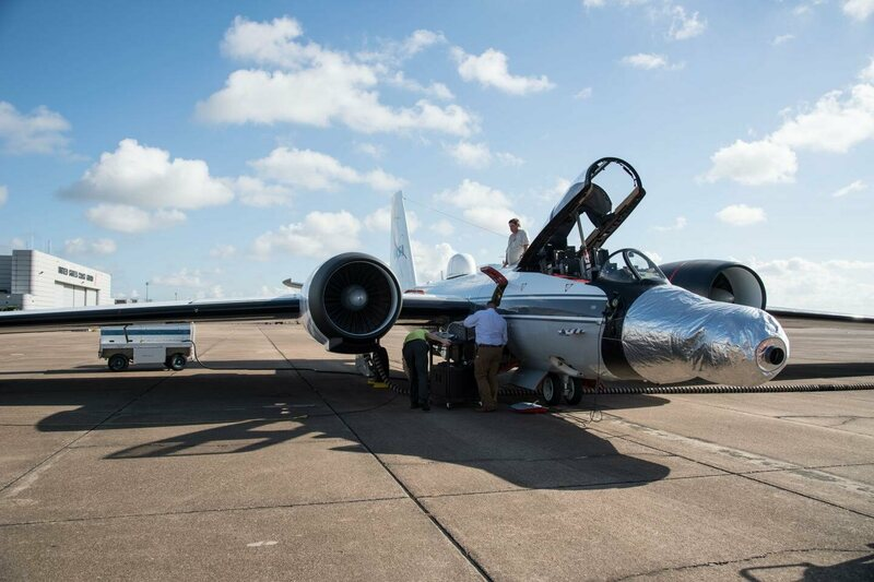 The silver nose of this WB-57 jet contains a telescope.