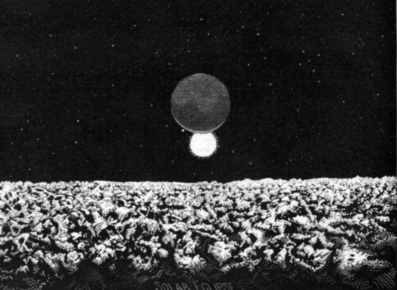 """An illustration of """"Scene #6: Solar Eclipse as Seen from the Moon,"""" from """"A Trip to the Moon."""""""