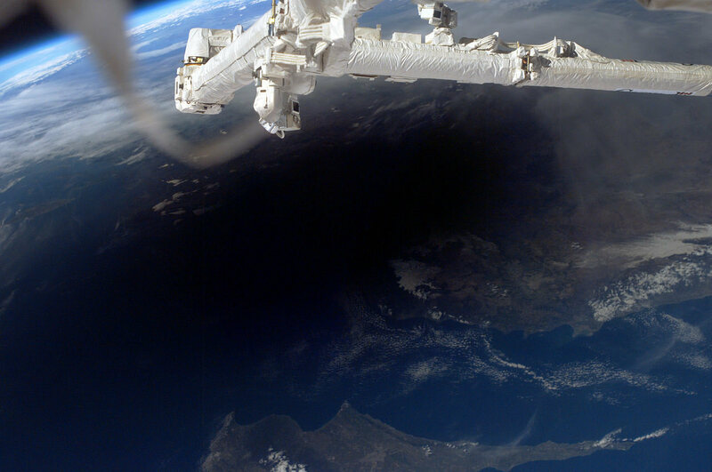 An eclipse in 2006, as seen from the International Space Station.